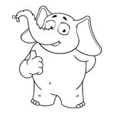 Elephant. Character. He raised a finger, like. Big collection of isolated elephants. Vector, cartoon. Elephant cute Nick. Elephant. Character. He raised a finger Royalty Free Stock Images