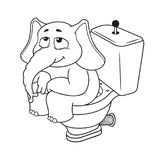 Elephant. Character. Sitting on the toilet. Big collection of isolated elephants. Vector, cartoon. Royalty Free Stock Images