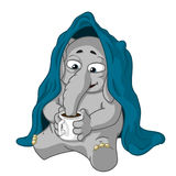 Elephant. Character. He is sitting under a blanket, drinking tea. Big collection of isolated elephants. Vector, cartoon. Stock Photo