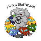 Elephant. Character. Standing in a traffic jam. Steering wheel in hands. A lot of cars. vector illustration