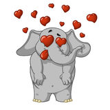 Elephant. Character. Very in love. Enamored. Many hearts. Big collection of isolated elephants. Vector, cartoon Royalty Free Stock Photography