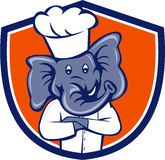 Elephant Chef Arms Crossed Crest Cartoon Stock Photo