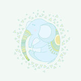 Elephant child in a circular composition. vector illustration