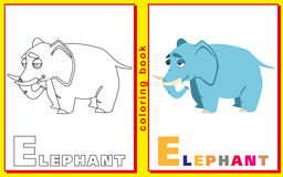 Elephant. Children coloring with the letters Royalty Free Stock Photography