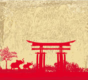 Elephant and chinese construction illustration Royalty Free Stock Images