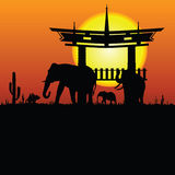 Elephant and chinese construction silhouette Stock Photography