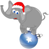 Elephant with Christmas Hat on Big Decorated Ball Royalty Free Stock Photos
