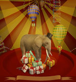 Elephant at the circus. Illustration. Elephant at the circus. Illustration with banner for a card or book cover or magazine. Computer graphics royalty free illustration