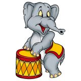 Elephant circus performer. High detailed and coloured illustration Royalty Free Stock Photography