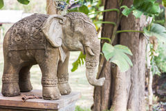 Elephant clay doll decorated in garden Stock Photos