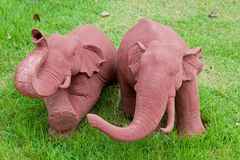 Elephant clay dolls in the garden , Stock Images