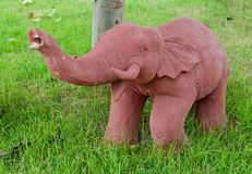 Elephant clay dolls in the garden , Royalty Free Stock Image