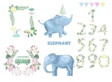 Elephants and frame robbons number for celebration birthday weeding greeting card text data set clip art digital animal of africa. Elephant clip art digital Royalty Free Stock Photo