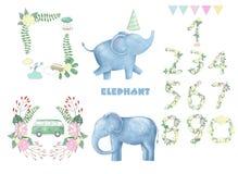 Elephants and frame robbons number for celebration birthday weeding greeting card text data set clip art digital animal of africa. Elephant clip art digital vector illustration