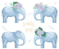 Elephant and flowers on head for design ready card clip art digital animal of africa cute drawing character funny kid summer style stock illustration