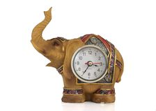 Elephant-clock. Decorative elephant with a clock inside.  on white Royalty Free Stock Photo