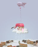 Elephant on a cloud with a telescope. Winter landscape. Christmas illustration royalty free illustration