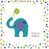 Elephant with clover vector good luck greeting Stock Images