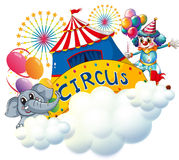 An elephant and a clown with a circus signage in the center. Illustration of an elephant and a clown with a circus signage in the center on a white background Royalty Free Stock Photos