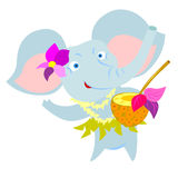 Elephant with coctail Royalty Free Stock Images