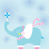 Elephant on a cold day Stock Image