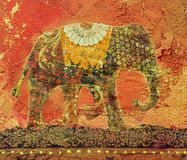 Elephant Collage. Painting, artwork is created and painted by myself Stock Photo