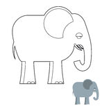Elephant coloring book. Big Animal of jungle with long trunk.  Royalty Free Stock Image
