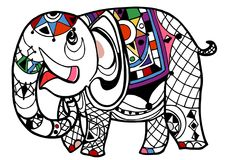 Elephant coloring book stock illustration