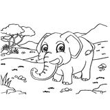 Elephant Coloring Pages vector. Image of  Elephant Coloring Pages vector outline Royalty Free Stock Image