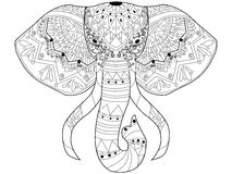 Elephant coloring vector for adults Stock Image