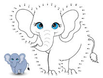 Elephant Connect the dots and color. Vector vector illustration