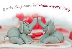 Elephant couple. Made of marzipan Stock Image