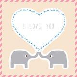 Elephant couple card1 Stock Photos