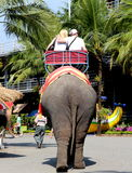 Elephant. Couple riding an elephant at one of the recreation area  in bangkok city thailand Stock Photography