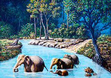 Elephant crossing the river Royalty Free Stock Photos