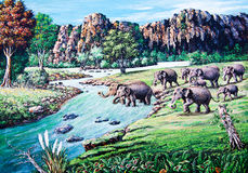Elephant crossing the river by oil painting Royalty Free Stock Images