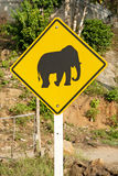 Elephant crossing road sign in thailand. Elephant crossing road sign near phuket thailand Stock Photos
