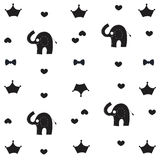 Elephant, crown and bow tie baby black white pattern wallpaper. Background royalty free illustration