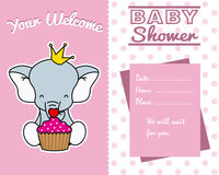 Elephant with cupcake Stock Images