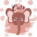 Elephant cute animal cartoon. Elephant cute cartoon on white and pink colors with floral background vector illustration Royalty Free Stock Photo