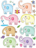 Elephant Cute Sets_eps. Illustration of elephant cute sets with element on white background Stock Image