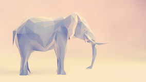Elephant. 3d render of elephant, abstract geometric low poly Stock Image