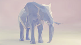 Elephant. 3d render of elephant, abstract geometric low poly Royalty Free Stock Photos