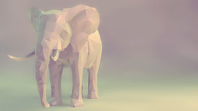 Elephant. 3d render of elephant, abstract geometric low poly Stock Photography