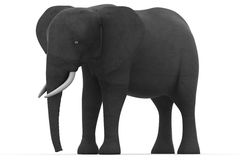 Elephant. 3D render with c shadow over white Royalty Free Stock Photo