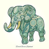 Elephant dark green ornament ethnic vector Stock Photography