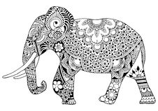 Elephant decorated with ornaments Royalty Free Stock Image