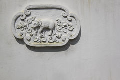 Elephant decoration temple wall thailand royalty free stock photography
