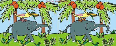 Elephant-10 difference. Find ten differences in the pictures - elephant and bird theme Stock Image