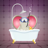 Elephant with diving mask on bath Royalty Free Stock Photo